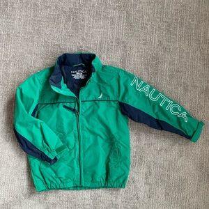 Nautical green and blue rain jacket with hood